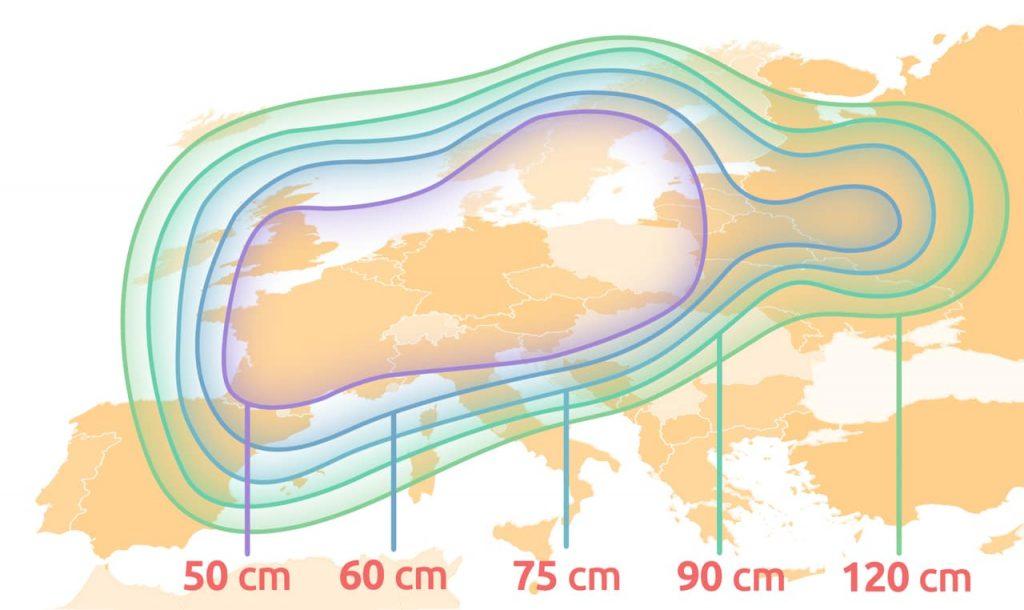 Satelliten Ausleuchtungszonen und passende Schüsselgröße